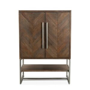 "52.5"" T Bar Cabinet Solid Weathered Teak Herringbone Doors Metal Accents"