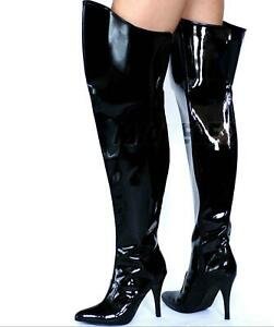 c0803a7a313 Details about MicheleX 7930 - Black PVC High Heel Thigh High Boots / LC01