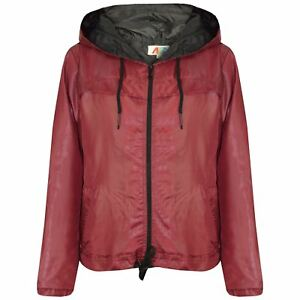 Girls Boys Raincoats Jackets Kids Red Lightweight Hooded Cagoule Rain Mac 5-13Yr