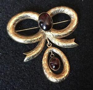 Antique-Victorian-Hallmarked-9ct-9k-Tied-Bow-Brooch-Pin-Pendant-Cabouchon-Garnet