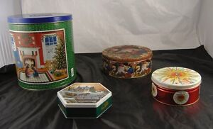 Lot-of-4-Collectible-Vintage-Tin-Canisters-Terry-Redlin-Santa-Claus-Rainbo-v3o1