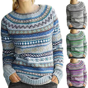 Womens-Fairisle-Knitted-Sweater-Casual-Pullover-Ladies-Long-Sleeve-Jumper-Tops