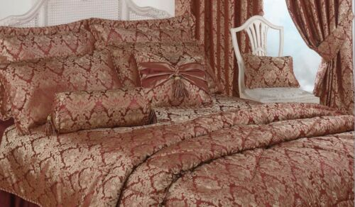 Lit simple housse de couette damassée raajh gold Bourgogne jacquard Hotel qualité
