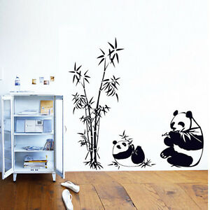 Image Is Loading Cute Diy Panda Bamboo Pattern Removable Vinyl Decal