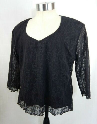 Zoey Beth Plus Black Lace 3/4 Sleeve Top with Fron