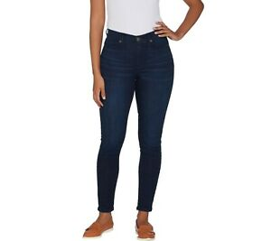 Isaac-Mizrahi-Regular-TRUE-DENIM-5-Pocket-Ankle-Jeans-Dark-Indigo-Size-12-QVC