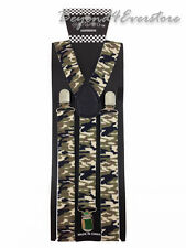 Men's Costumes Wear Accessories Army Green Camouflage Adjustable Suspenders