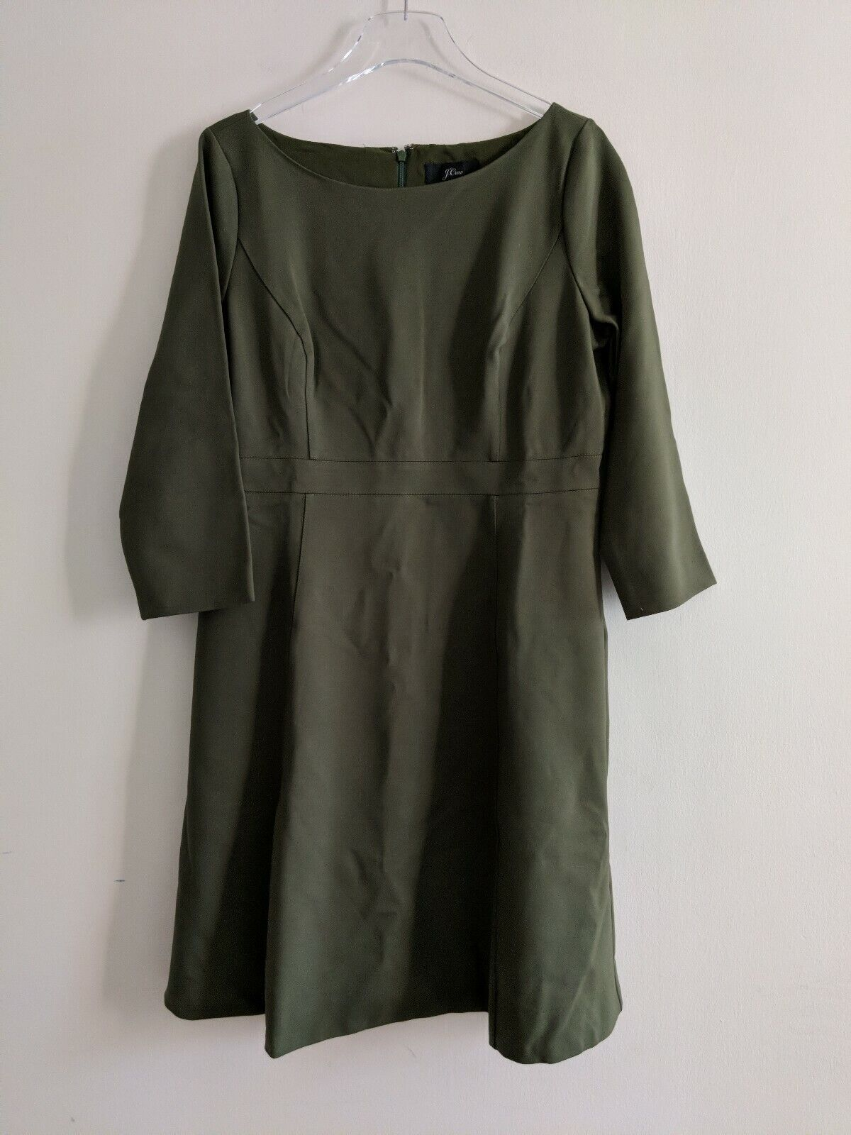 J CREW Fit and Flare Ponte Knit Dress Sz 14 Green career H9330 NWT  128