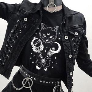 Women-Halloween-Gothic-T-Shirt-Short-Sleeve-Cat-Print-Punk-Tees-Top-Blouse-Vogue