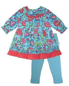 New Girls Boutique Cotton Kids 2t Turquoise Coral Dress Outfit