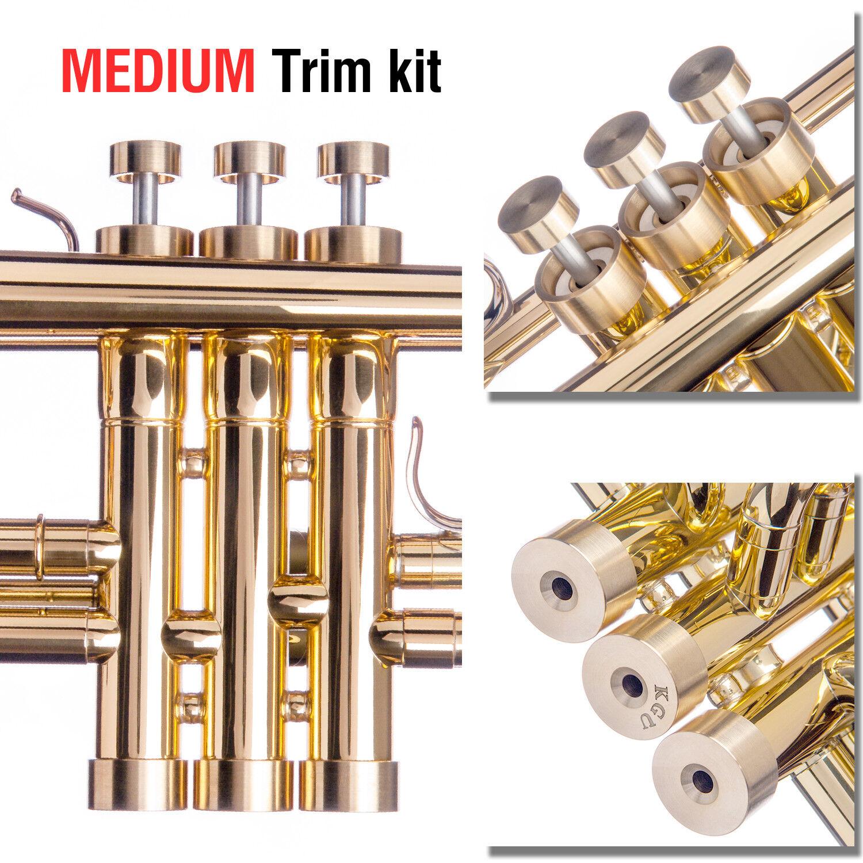 Getzen Trumpet Trim Kit Medium Caps. KGUBrass. Raw Brass. TKMB109