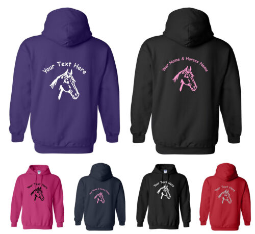 Small to XXL GLITTER // PLAIN PERSONALISED ADULT HOODY HORSE HEAD DESIGN