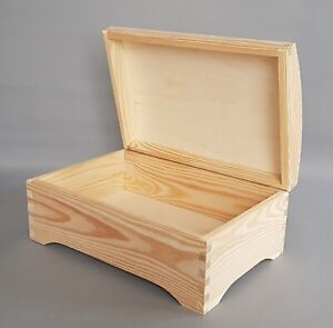 Details About Wooden Chest Storage Box Keepsake Lid Trunk Plainwood Home Decor Diy Furniture
