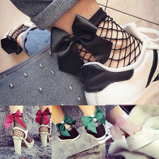 Fashion Women Bow Ruffle Fishnet Ankle High Socks Mesh Lace Fish Net Short Socks