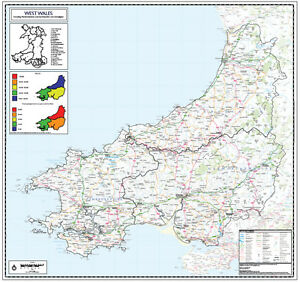 West Wales Map WEST WALES WALL MAP   COUNTY WALL MAP OF WEST WALES. LAMINATED  West Wales Map