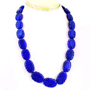 985.00 CTS EARTH MINED 2 STRAND PEAR SHAPE RICH BLUE SAPPHIRE BEADS NECKLACE
