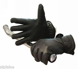 Gants-moto-cuir-double-LONGHORN-noirs-Taille-S