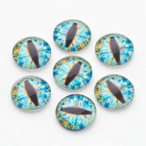 6 Eye Cabochons Dragon Eye Cabochons 12mm Round Glass Flat Backs Domed Blue