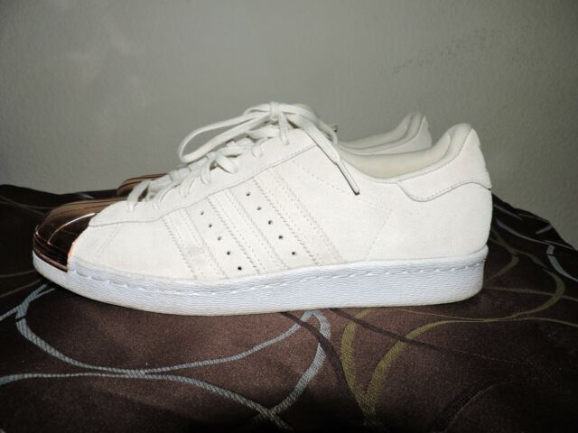size 40 77083 34e28 ADIDAS SUPERSTAR 80'S TRAINERS SUEDE ROSE GOLD METAL TOE IN SIZE 9.5