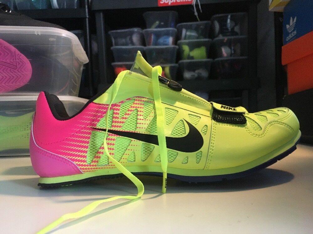 Nike Zoom LJ 4 Long Jump Track Shoes Spikes Sz 12 Volt Pink Black 415339-999
