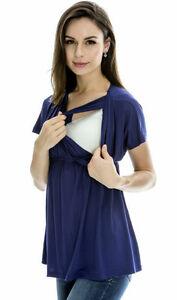 Offen Nursing/breastfeeding Navy Summer Top,size M8-10,l 10-12,xl12-14 Stillmode Umstandsmode