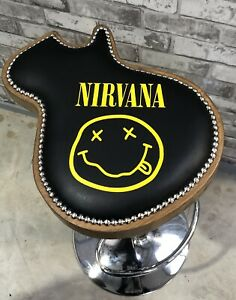 NEW-Personalised-Nirvana-Music-Guitar-Stool-height-adjust-real-leather-stand