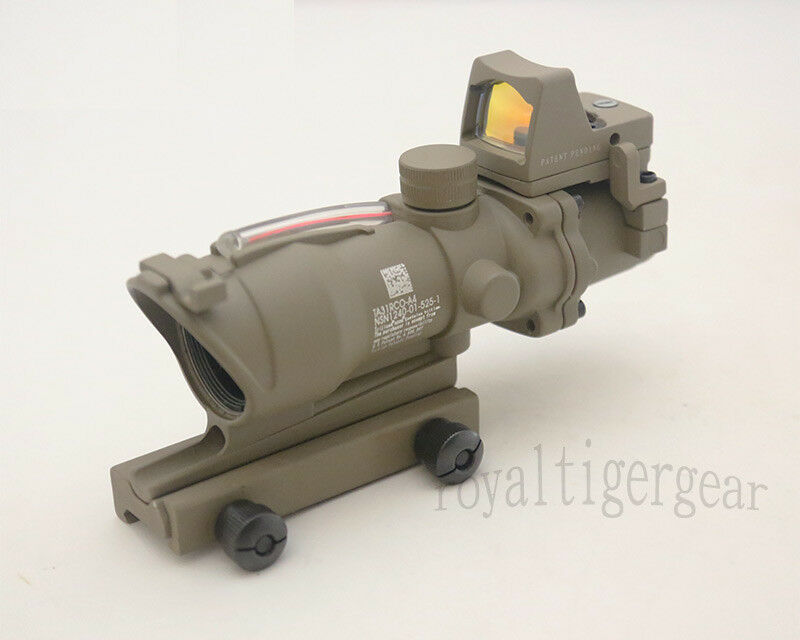 ACOG 4x32 Rifle Scope Red Illuminated Optic Fiber w Red Dot Sight - Dark Earth