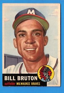 1953-Topps-Set-Break-214-Bill-Bruton-VG-VGEX-wrinkle-Milwaukee-Braves-William