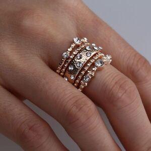 5Pcs-Femmes-Bijoux-de-Mariage-d-039-anneaux-Empilables-en-Or-Rose