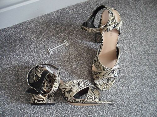 Bnwts Size Brocade gold Flred Blk Sandal amp; Newlook 5 Party Heel IvxwgA8pq