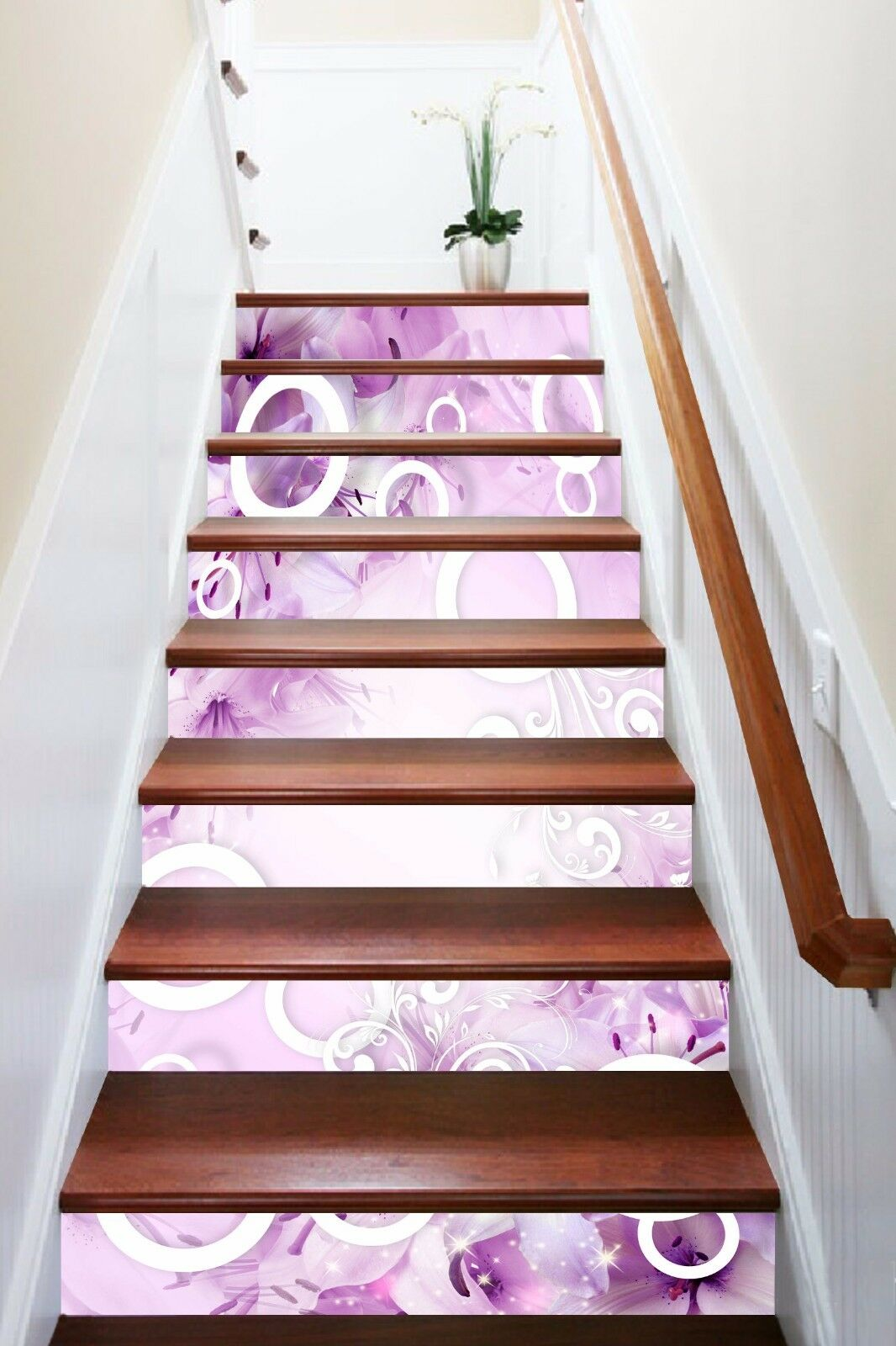 3D violet torus Stair Risers Decoration Photo Mural Vinyl Decal Wallpaper AU