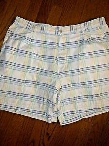 Saddlebred-Pastel-Plaid-Style-Preppy-Golf-Elastic-Waist-Shorts-Men-s-40-tw4j1