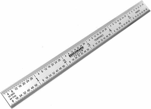 """Benchmark Tools 5 Ea 6/"""" 5R Flexible Machinist Ruler Grad Brushed Stainless Steel"""