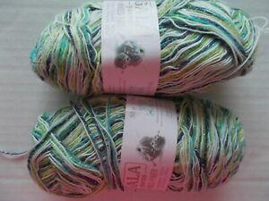 lot of 2 Gala Mixed Fiber variegated yarn gray//orange//green