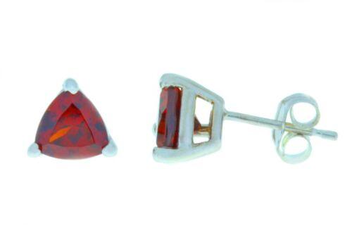 2 Ct Garnet Trillion 6mm Stud Earrings White Gold Silver