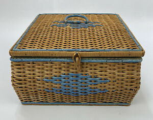 VTG-Woven-Wicker-10-25-034-Square-Sewing-Basket-FOR-RESTORATION-AA