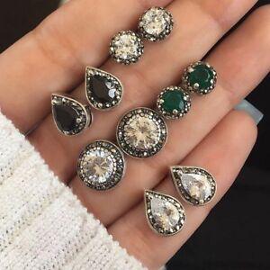 5-Pairs-Set-Stud-Earrings-Cubic-Zirconia-Water-Drop-Green-Black-Gemstones