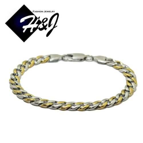 """24/""""MEN/'s Stainless Steel 7mm Gold Silver Cuban Curb Link Chain Necklace Bracelet"""