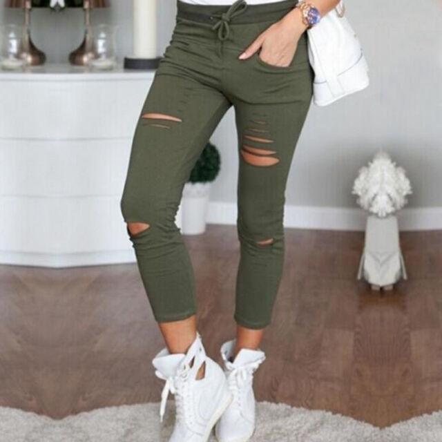 New Womens Ladies Stretch Faded Ripped Slim Fit Skinny Denim Jeans Sport Legging