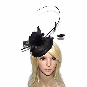 Image is loading BEAUTIFUL-ROYAL-BLUE-OR-BLACK-FASCINATOR-HATINATOR-ON- 426333705b6