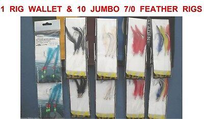 10 MIXED JUMBO COD FEATHER RIGS SIZE 7//0 HOOKS SEA FISHING UPTIDE BOAT ROD LURES