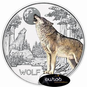 Piece-3-euros-commemorative-AUTRICHE-2017-Le-Loup-Piece-phosphorescente