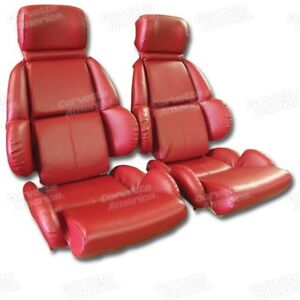 Details about 89-92 Corvette C4 MOUNTED Seat Upholstery Covers RED VINYL  with FOAM SET NEW