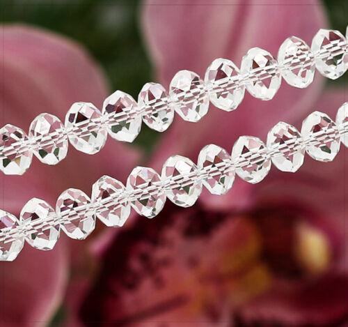 10x cuentas de vidrio cristal perlas beads facetada claramente joyas DIY bricolaje 6x8mm