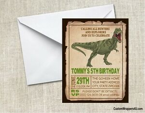 Image Is Loading Dinosaur Birthday Party Invitations Personalized Custom