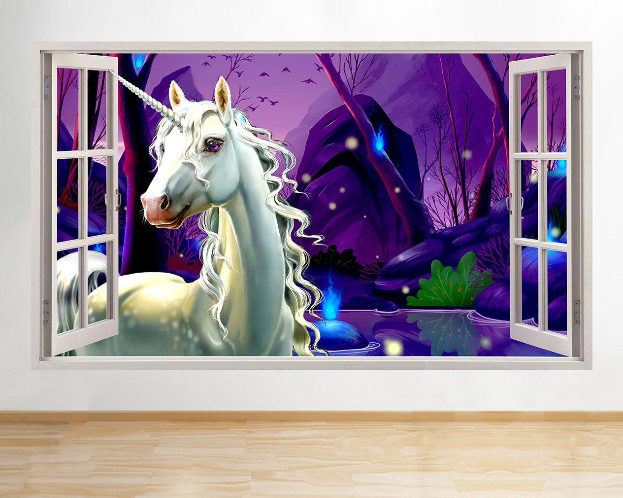 M513 Licorne Filles magie mur fenêtre Cham Autocollant Chambre 3D Vinyle enfants