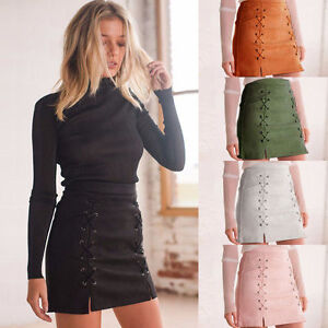 Casual-Suede-Mini-Skirt-High-Waist-Lace-Up-Vegan-Leather-Pocket-Preppy-Leather
