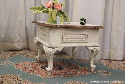 Tavolo Bianco Stile Provenzale.Tavolo Da Salotto Vintage Cm 62x62 Tavolino Shabby Chic Stile