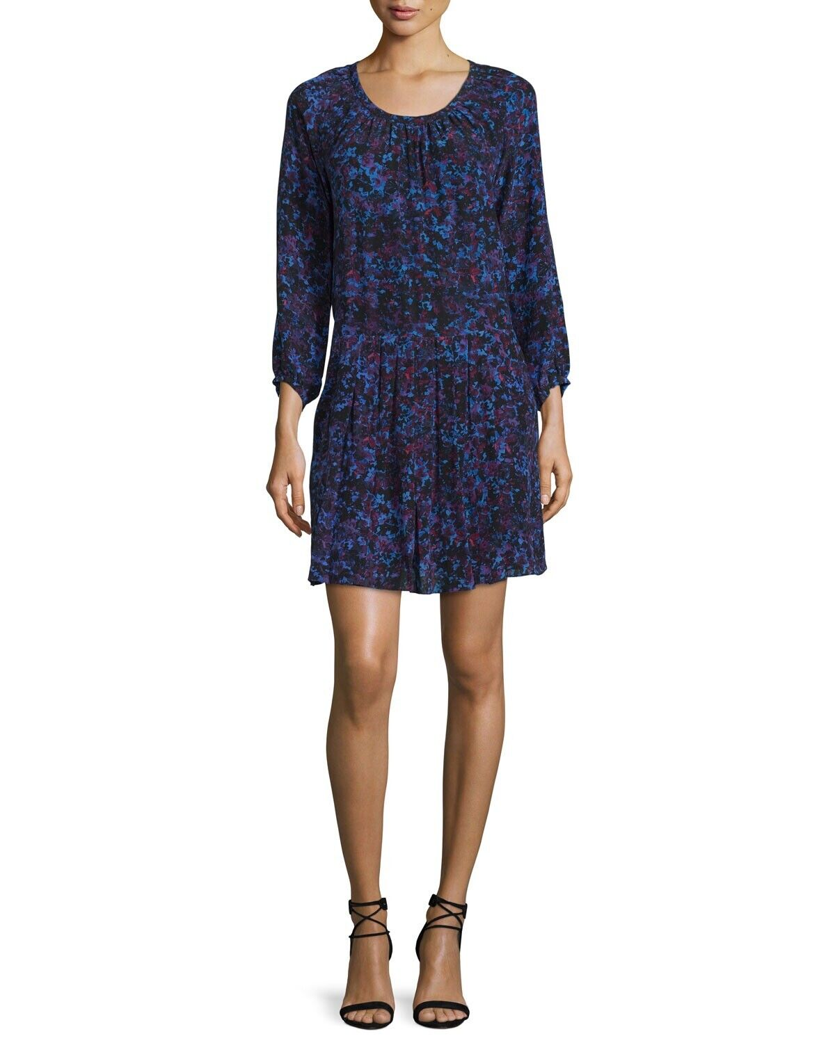 Rebecca Taylor Long Sleeve Silk Printed Dress In Blau Größe 10