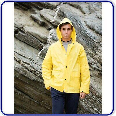 Luminosa Da Uomo Leggero Impermeabile Con Cappuccio Cappotto Di Pioggia Mac Cappotto Bottoni Automatici Pioggia- Forte Imballaggio